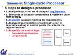summary single cycle processor