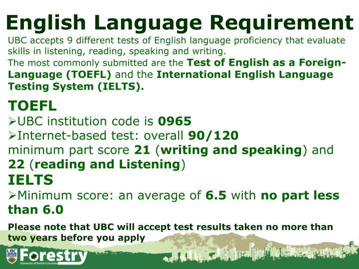 English Language Requirement