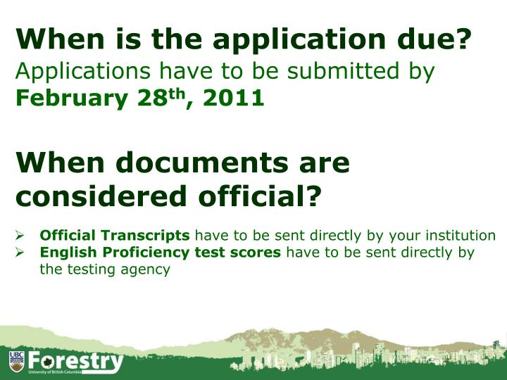 When is the application due?