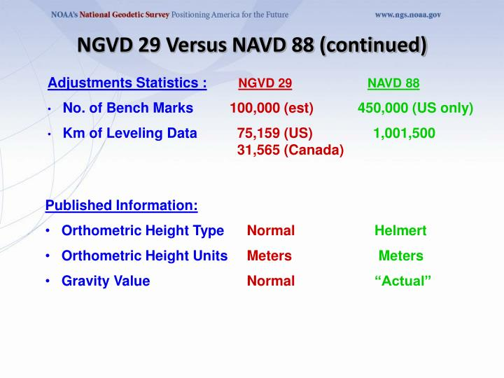NGVD 29 Versus NAVD 88 (continued)