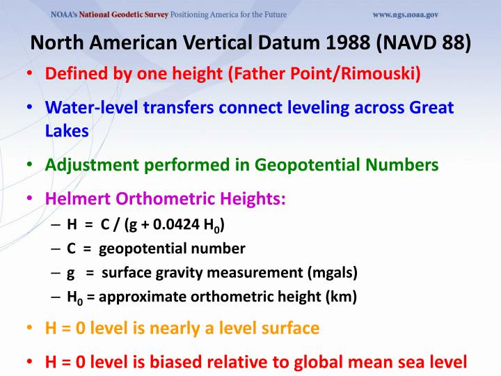 North American Vertical Datum 1988 (NAVD 88)