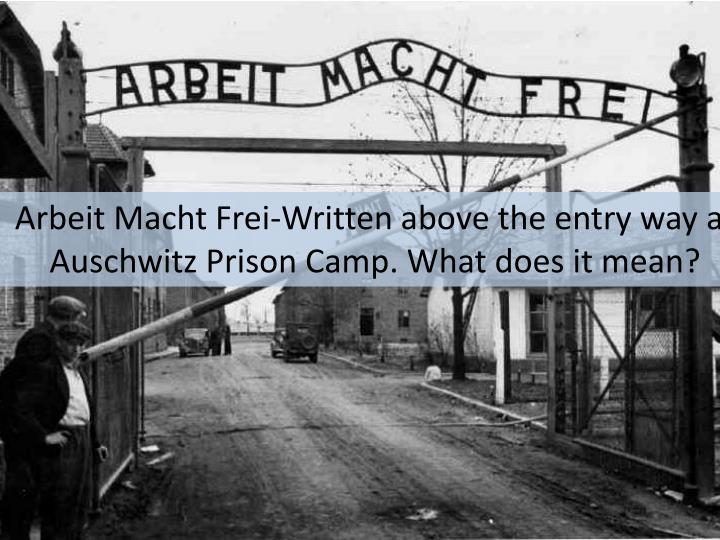 Arbeit Macht Frei-Written above the entry way at Auschwitz Prison Camp. What does it mean?