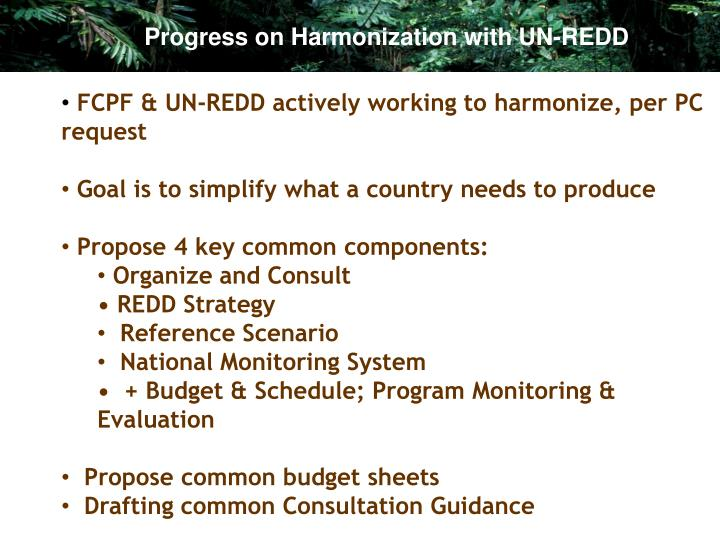 Progress on Harmonization with UN-REDD