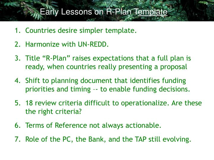 Early Lessons on R-Plan T