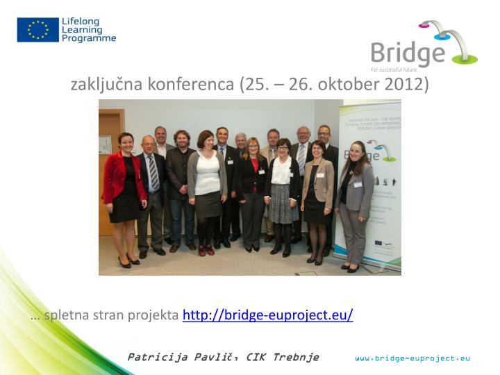 zaključna konferenca (25. – 26. oktober 2012)