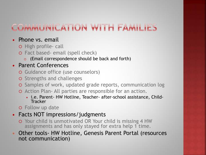 Communication with Families