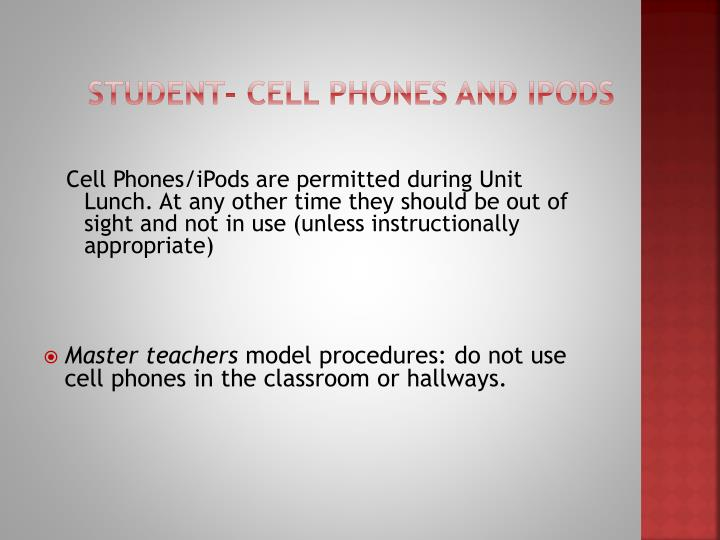 Student- Cell Phones and IPODS