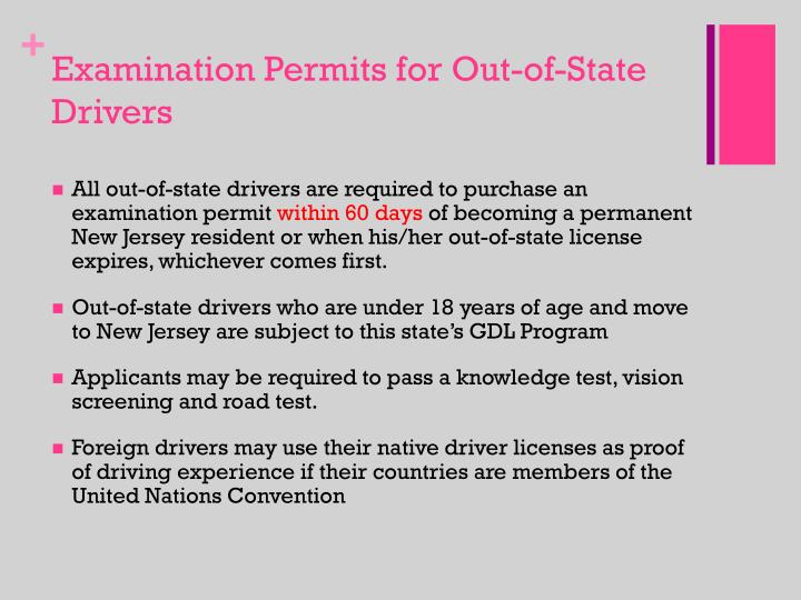 Examination Permits for Out-of-State Drivers