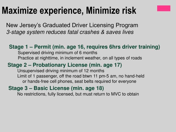 Maximize experience, Minimize risk