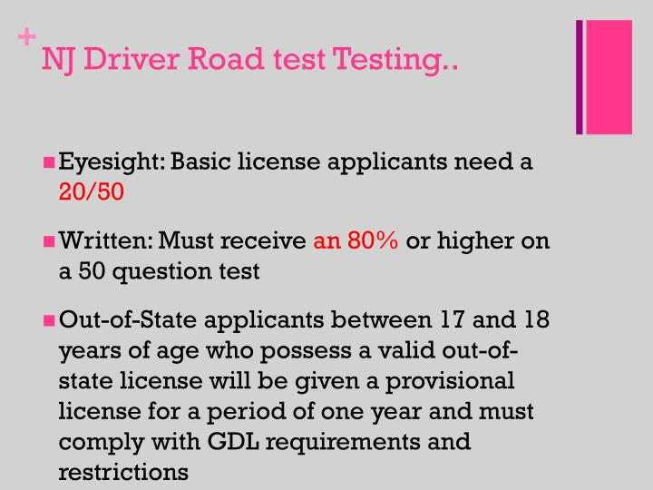 NJ Driver Road test Testing..