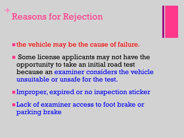 Reasons for Rejection
