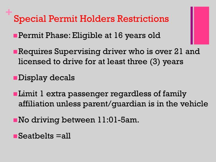 Special Permit Holders Restrictions