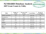 nj shares database analysis 2007 grant counts by utility