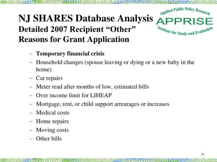 NJ SHARES Database Analysis