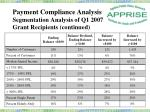 payment compliance analysis segmentation analysis of q1 2007 grant recipients continued6
