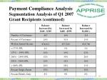 payment compliance analysis segmentation analysis of q1 2007 grant recipients continued7