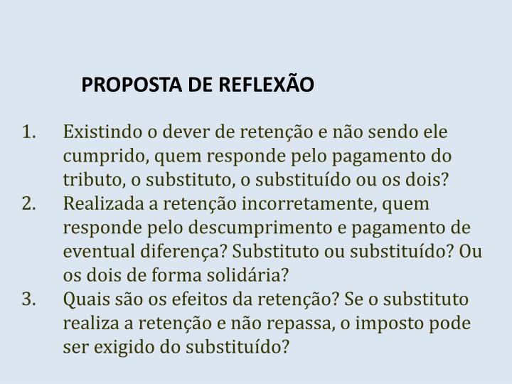 PROPOSTA DE REFLEXÃO