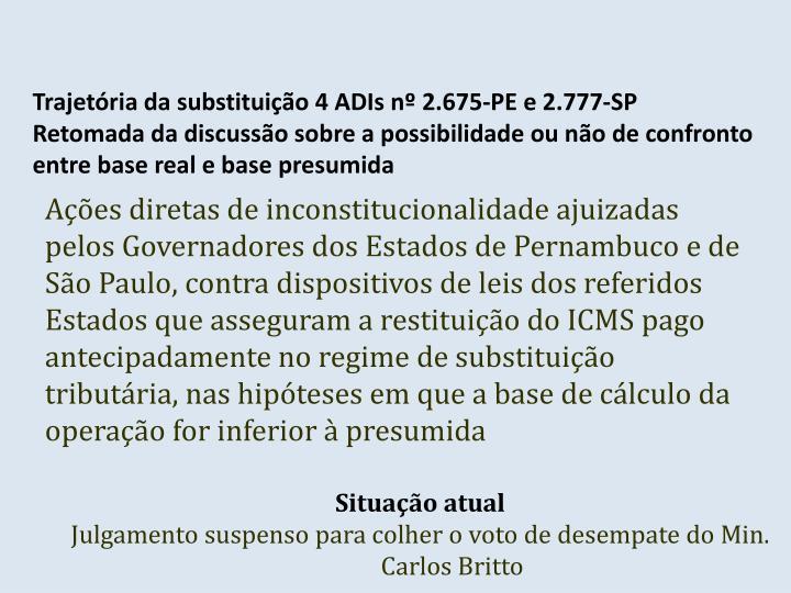 Trajetória da substituição 4 ADIs nº 2.675-PE e 2.777-SP