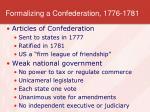 formalizing a confederation 1776 1781