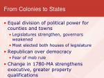 from colonies to states