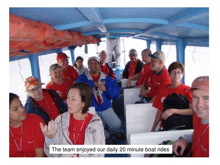 The team enjoyed our daily 20 minute boat rides