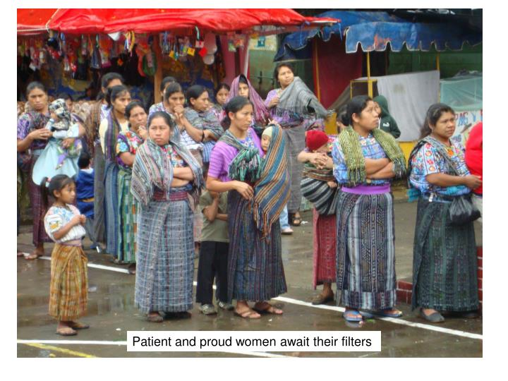 Patient and proud women await their filters