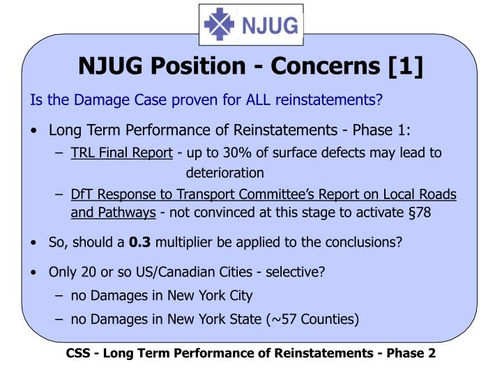 NJUG Position - Concerns [1]