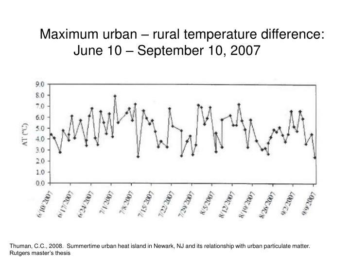 Maximum urban – rural temperature difference: