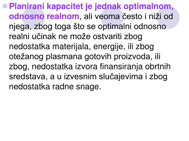 Planirani kapacitet je jednak optimalnom, odnosno realnom