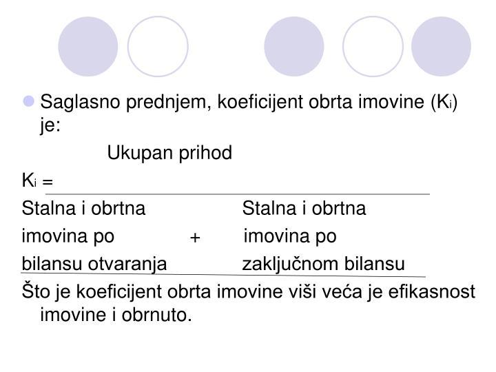 Saglasno prednjem, koeficijent obrta imovine (K