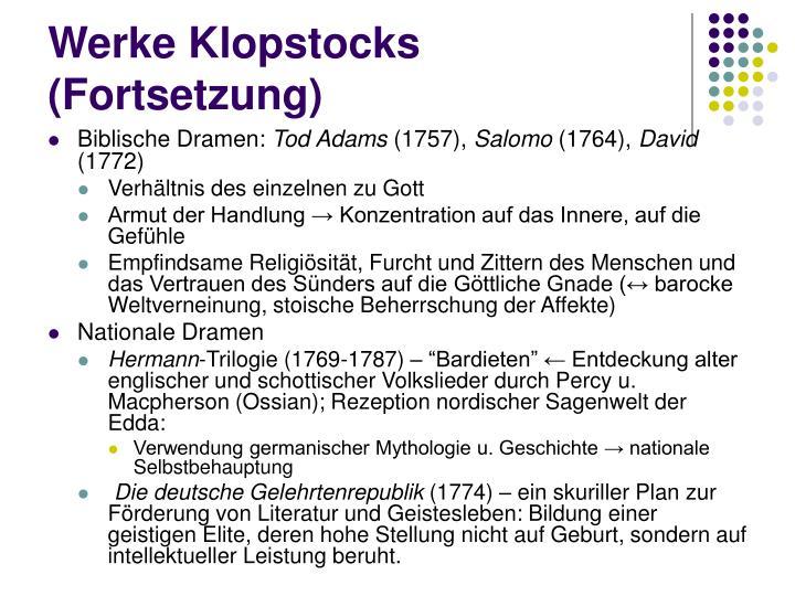 Werke Klopstocks (Fortsetzung)