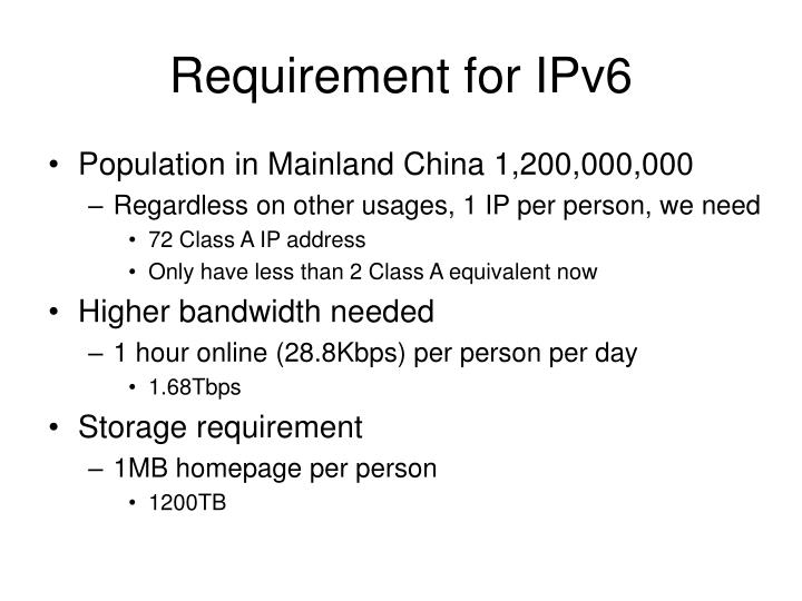 Requirement for ipv6