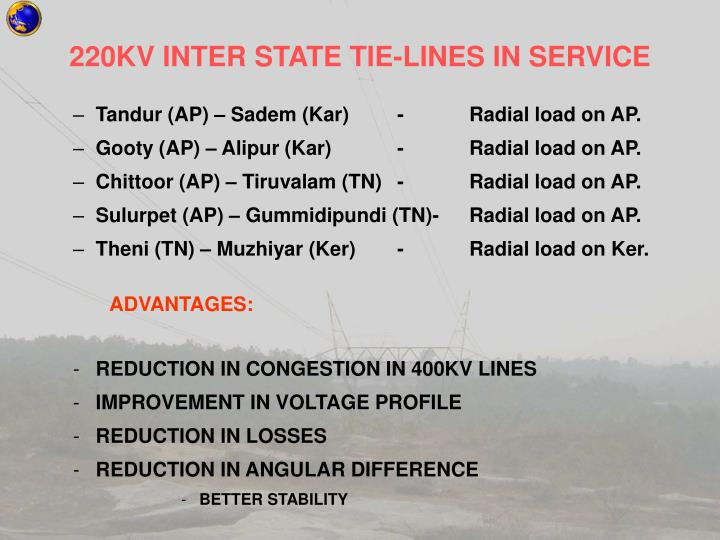 220KV INTER STATE TIE-LINES IN SERVICE