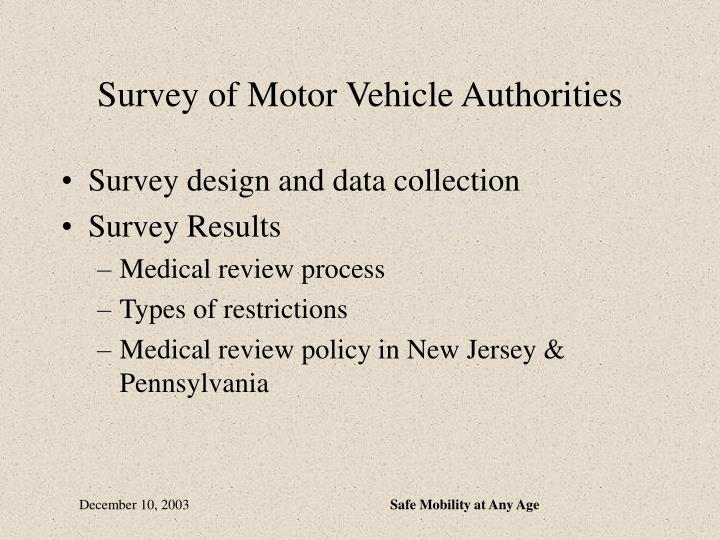 Survey of Motor Vehicle Authorities