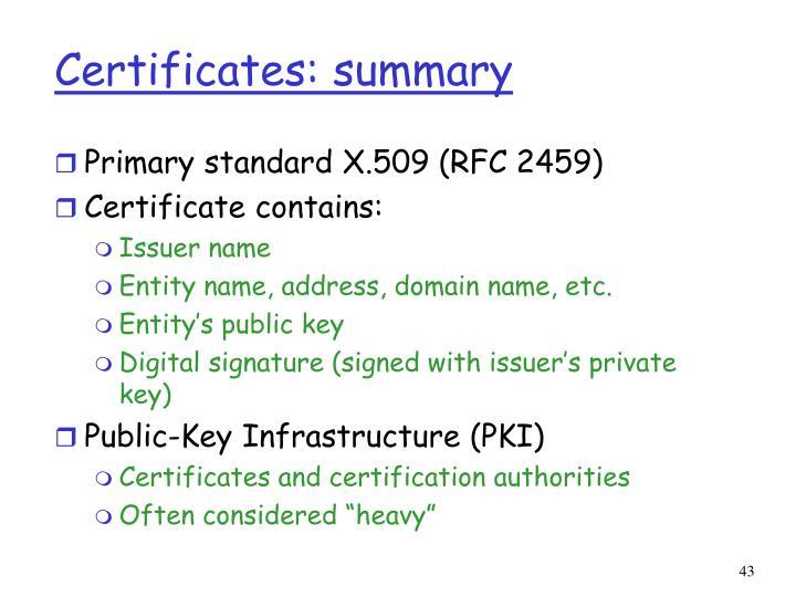 Certificates: summary