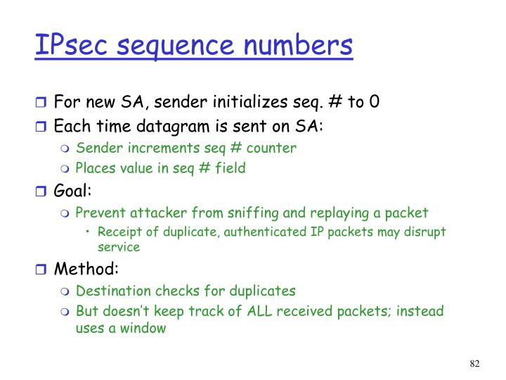 IPsec sequence numbers
