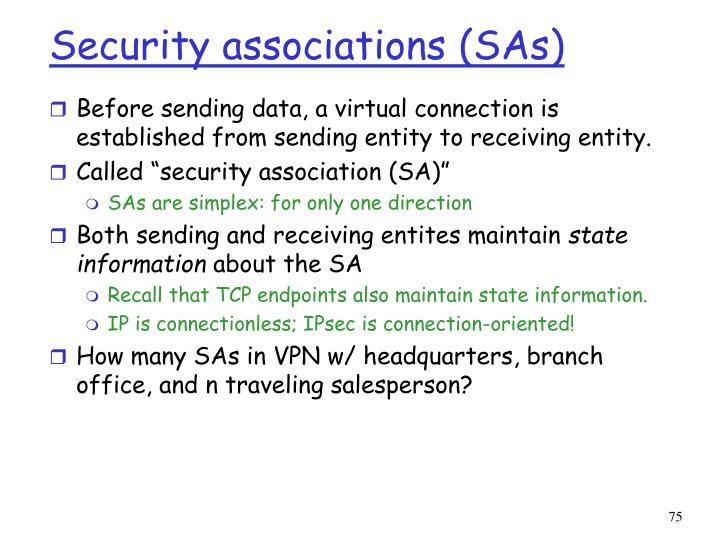 Security associations (SAs)