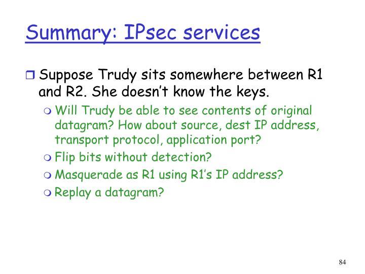 Summary: IPsec services