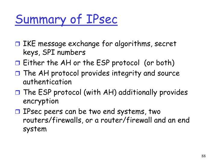 Summary of IPsec