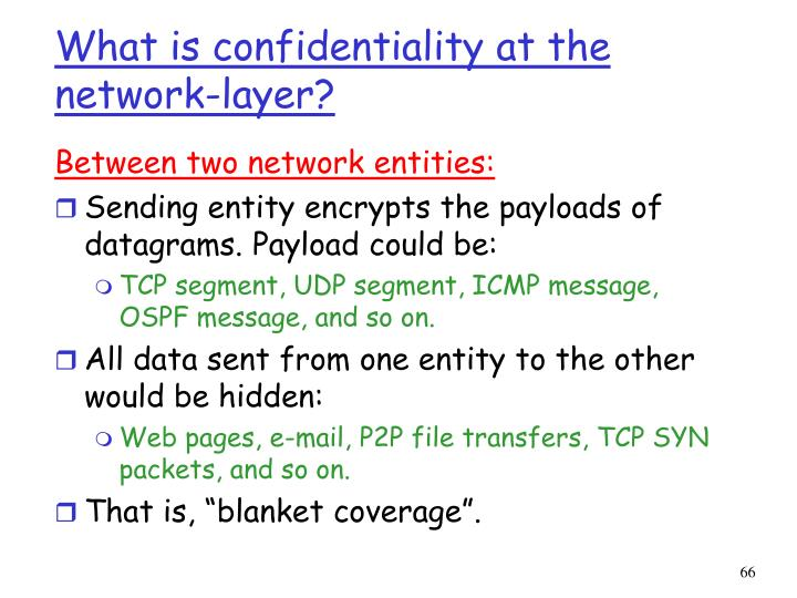What is confidentiality at the network-layer?