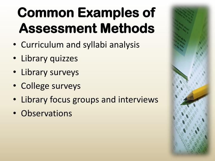 Common Examples of Assessment Methods