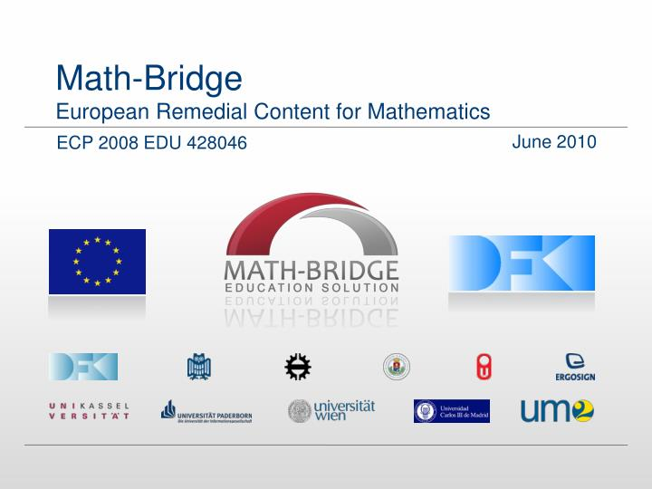 Math bridge european remedial content for mathematics