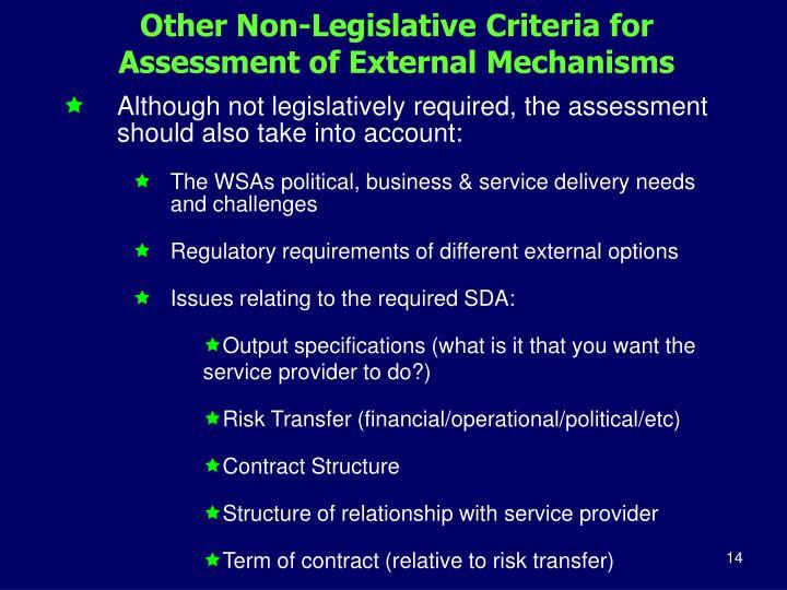 Other Non-Legislative Criteria for Assessment of External Mechanisms