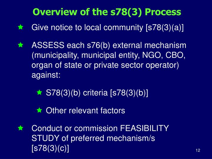 Overview of the s78(3) Process