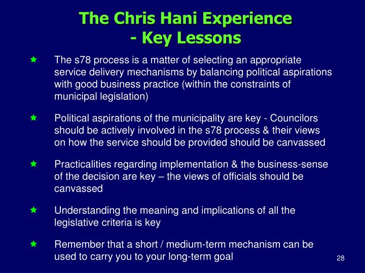 The Chris Hani Experience