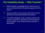 the feasibility study risk transfer