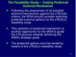 the feasibility study testing preferred external mechanism