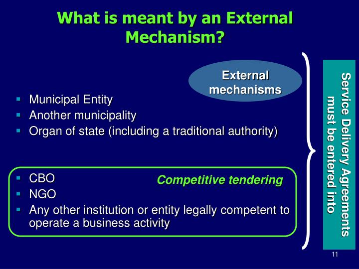 What is meant by an External Mechanism?