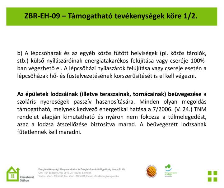 ZBR-EH-09 – Támogatható tevékenységek köre 1/2.