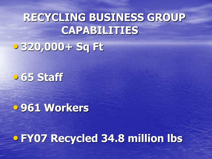 RECYCLING BUSINESS GROUP   CAPABILITIES